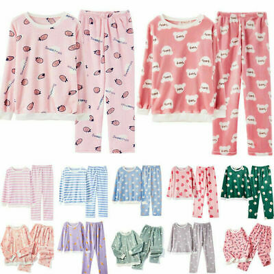 Women Girls Winter Flannel Warm Pants+Tops Soft Cute Night Sleepwear Pyjamas Set