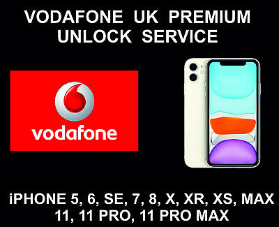 Vodafone UK Premium Unlock Service, iPhone 5, 6, 7, 8, X, XR, XS, 11, Pro, Max