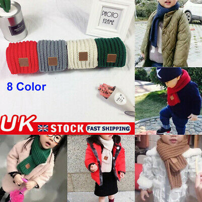 UK Fashion 100-135cm Children Winter Warm Scarf Boys Girls Knitted Collar Scarf