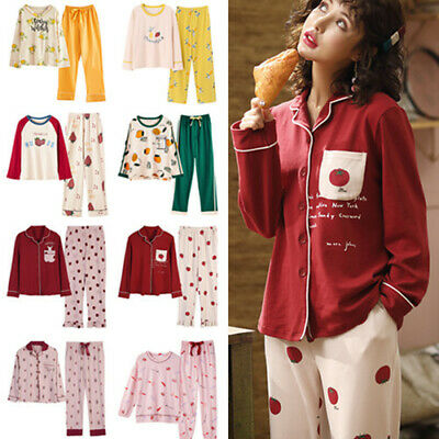 24 Styles Women Girls Spring Shirt Pants Tops Cute Sleepwear Night Set Pyjamas
