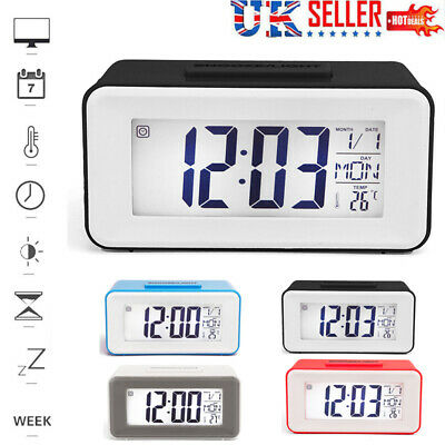 LED Digital Alarm Clock Intelligent Voice Control Luminous Mute Alarm Clock UK