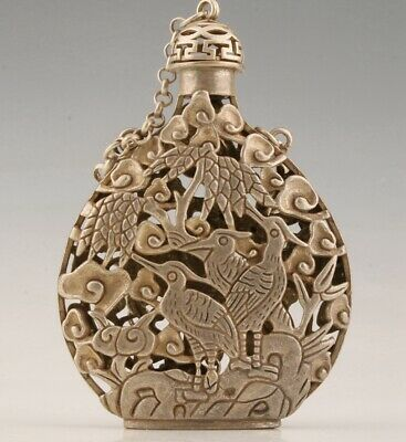 Tibetan Silver Hand-Carved Bird Snuff Bottle Pendant Auspicious Gift Collec Old