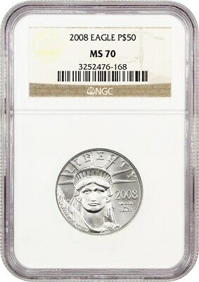 2008 Platinum Eagle NGC MS70 - Statue Liberty 1/2 oz