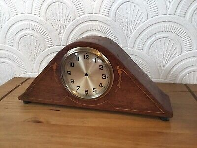 Antique Wooden Inlaid Mantle Clock Case Glass & Face No Movement