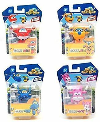 4 Pcs - Super Wings MINI Transforming planes series [ Hogi / Jett + Ari / Dizzy