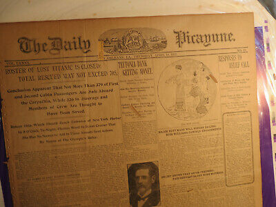 Titanic Ship Newspaper April 18 1912 Roster of Lost Closed SAVED Not Exceed 705