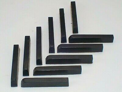 11 Reclaimed Ebony (?) Piano Keys.  Woodturning, carving, black wood.  3680