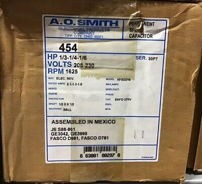 Century AO Smith 454A Blower Motor, 1/3-1/4-1/6 HP, 1625 RPM, 208-230V. D781