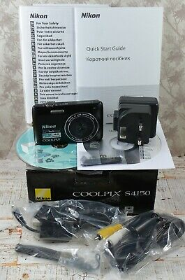 NIKON Black Coolpix Touch Screen S4150 14MP Wide 5x Zoom VR Digital Camera Boxed