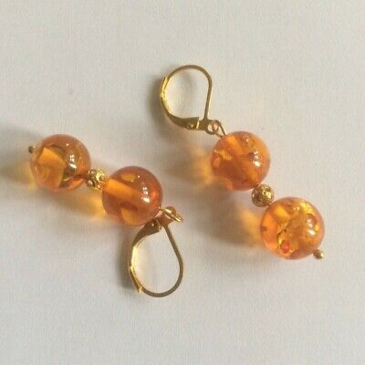 Amber Bead Earrings. Regency Victorian Style. Gold Plated.