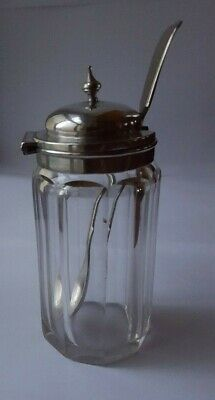 Glass Mustard Pot with Silver Plated Lid Vintage Cut Crystal  & Spoon H 12cm