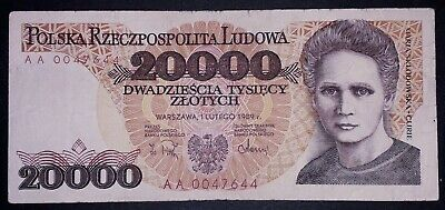 Polish 20.000 zlot banknote, 1989year,(normal condition)