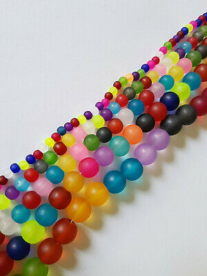 200 x 4MM Multi Colour Round Glass Beads Frosted Mixed Colours Bright GB65