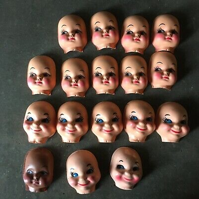 Lot of 4 Large Clown Celluloid Plastic Doll Masks Faces Craft Doll Making VTG