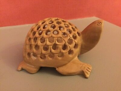 Small Caved Wooden Turtle with baby Caved Turtle Inside.