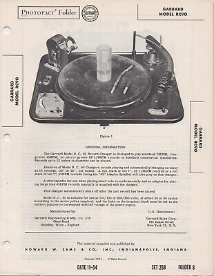 1954 Garrard Rc90 Record Player Changer Service Manual Photofact Schematic Fix