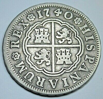 1740 Spanish Silver 2 Reales Piece of 8 Real Colonial Era Pirate Treasure Coin