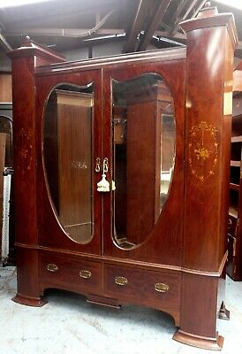 Huge Maple & Co Inlaid Wardrobe with Secret Drawer & key