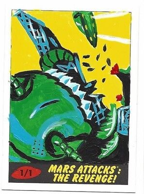2017 Topps Mars Attacks The Revenge * Sketch Card 1/1  Artist Jasmine Contois