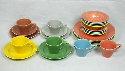 Lot (4) 5pc Place Settings Homer Laughlin Harlequin China Plates Bowls Cups