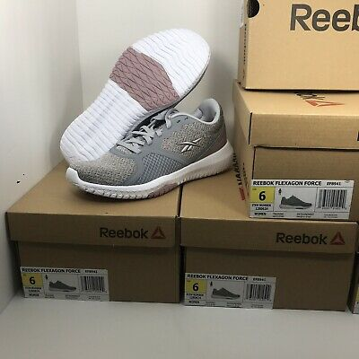 Reebok Flexagon Force Memory Tech Shoes, Sneakers Grey/Pink/White Womens Sz 6
