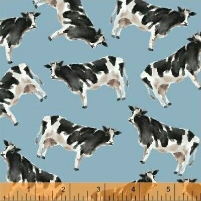 Cows Farm Animals on Cream Off-White Bovine Cotton Sateen Fabric Print D464.23