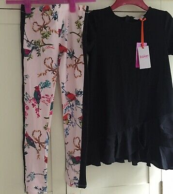 TED BAKER NEW GIRLS OUTFIT BLACK DRESS &  PiNK BIRD PRINT BOTTOMS Age 12/13 Yrs