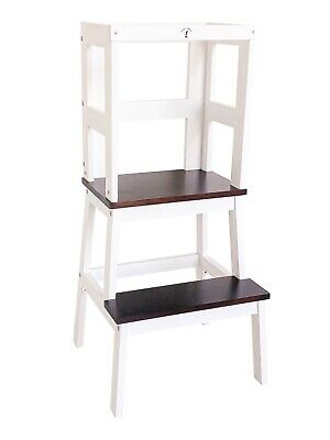 Learning Tower - Little Risers - Kitchen Helper - Toddler Tower. White / Walnut