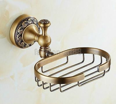 Retro Antique Brass Carved Flower Bathroom Wall Mounted Soap Dish Holder fba493