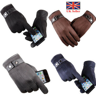 Men's Touch Screen Leather Gloves Thermal Fleece Lined Driving Winter Warm Soft