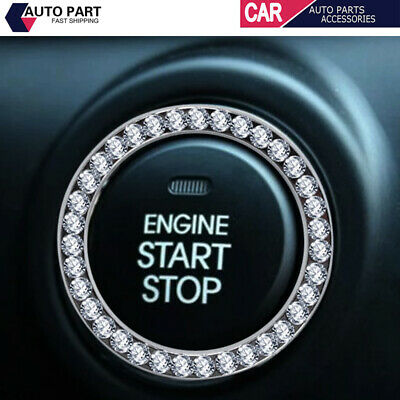 1*Car Bling Button Start Switch Silver Diamond Rhinestone Ring Decor Accessories