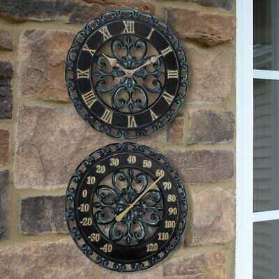 Lily's Home Hanging Verdigris Wall Clock and Dial Thermometer Set Ideal for I...