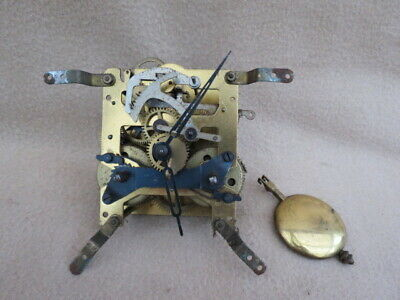 Antique Kienzle 8 Day Striking Clock Movement, Pendulum, And Hands For Spares Or