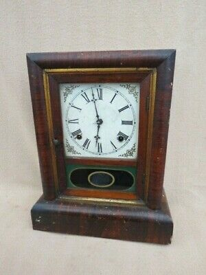Antique Gilbert & Co 8 Day Striking Shelf Clock For Spares Or Repair