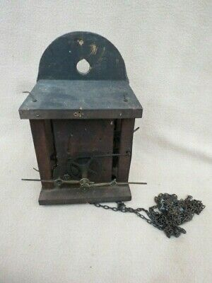 Antique Black Forest Shield Dial Wall Clock Movement For Spares Or Repair