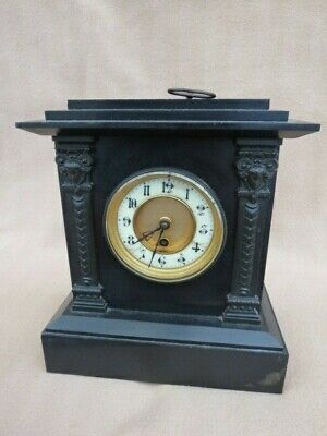 Antique French Black Slate With Metal Mounts Mantel Clock For Tlc