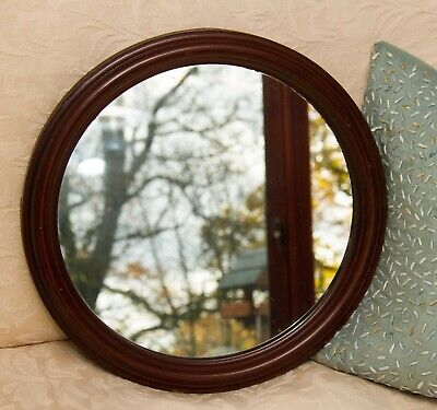 Antique Mahogany Frame Round Mirror Circular Wood Wall Hanging Mirror