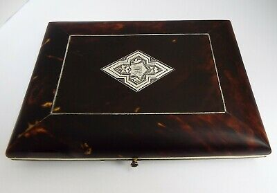 Fine English Antique Sterling Silver & Faux Tortoiseshell Card Case Aide Memoire