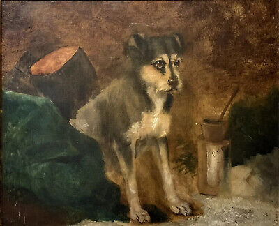 Victorian Dog Painting - Scruffy Terrier Sitting - Lovely 19Th Century Large Oil
