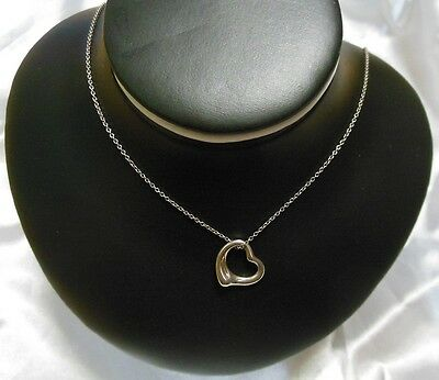 Tiffany & Co Sterling Silver 925 Elsa Peretti Signed Open Heart Necklace