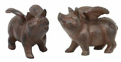 Cast Iron Small Whimsical Flying Pig Angel Hog Statue Paperweight Decor Set of 2