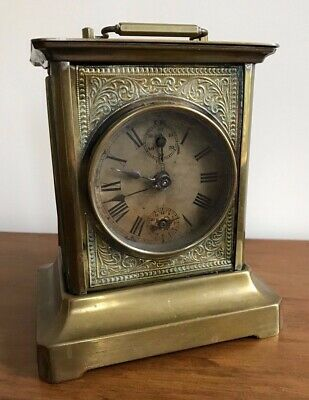 Antique German 19Th C Rare Musical Brass Cased Carriage Clock Working