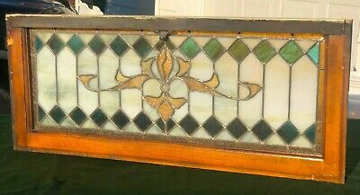 """Early 1900's Leaded Stained Glass Window - Church Salvage EXC! 36"""" x 15"""""""