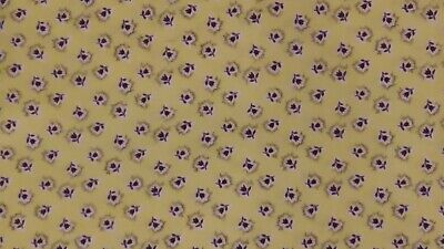 """Vintage 1930s 40s Yellow Cotton Yardage Black Tulips Flowers Is 2 Yards by 35"""""""