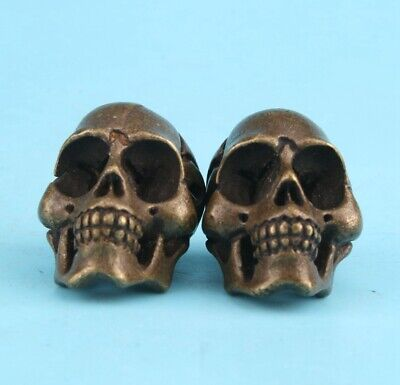 2 China Bronze Handmade Casting Skull Figurine Statue Cool Gift Collection Old