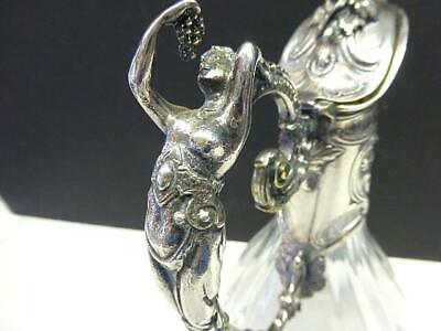 Vintg French NUDE w Grapes Silverplate Cristallerie Lorraine Claret Jug DECANTER