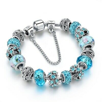 Authentic Pandora Silver Charm Bracelet Blue Heart Key Love Charms My European