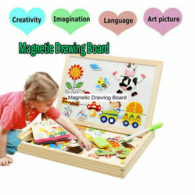 Magnetic Jigsaw Puzzle Drawing Board Wooden Game Educational Toys for Child Gift