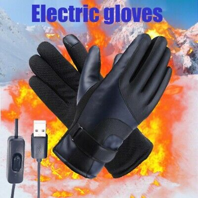 USB Plug Electric Heated Gloves With Touchscreen Finger Winter Gloves Windproof