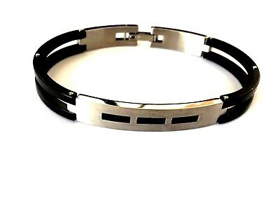 Stainless Steel 316L Fashion Mens Bracelet Black And Silver Tone